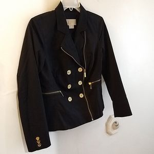 Micheal Kors black moto jacket with gold buttons